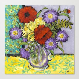 Lavender Flowers on Yellow Canvas Print