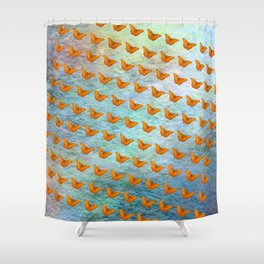 Orange butterflies flying in formation Shower Curtain
