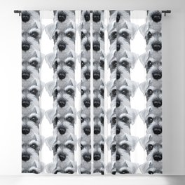 Schnauzer Grey&white, Dog illustration original painting print Blackout Curtain