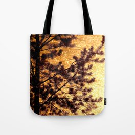 Pine Silhouette at Sunset #decor #society6 Tote Bag
