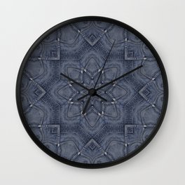 Blue Jeans Denim Patchwork Style Wall Clock