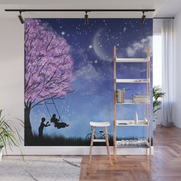 Cherry tree with lovely couple Wall Mural