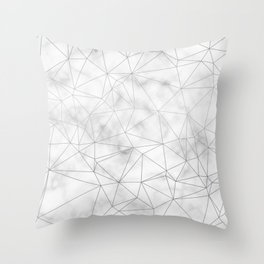 Marble Silver Geometric Texture Throw Pillow