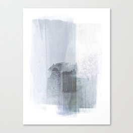 Blue Grey Minimalist Abstract Painting Canvas Print