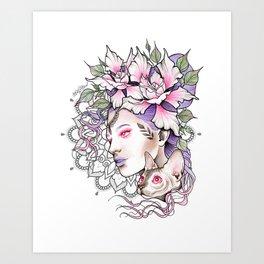 Cat Lady Art Print