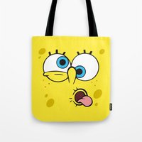 spongebob Tote Bags featuring Spongebob Crazy Face by Cute Cute Cute