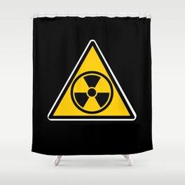 radioactive warning triangle Shower Curtain