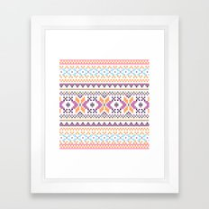 Pastel Orange Purple Abstract Aztec Girly Pattern Framed Art Print