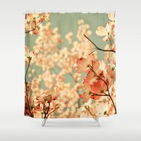aqua Shower Curtains featuring Pink by Olivia Joy StClaire