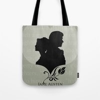 pride and prejudice Tote Bags featuring Pride and Prejudice by Clarc