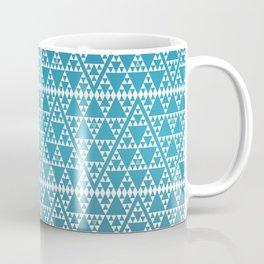 Triangles in Triangles White on Blue Coffee Mug