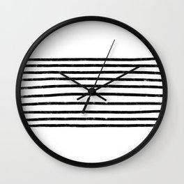 Minimalist Hand Drawn Stripes Pattern (black/white) Wall Clock