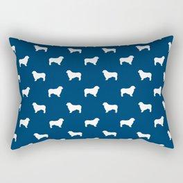 Australian Shepherd silhouette navy and white dog breed pattern simple minimal dog gifts Rectangular Pillow