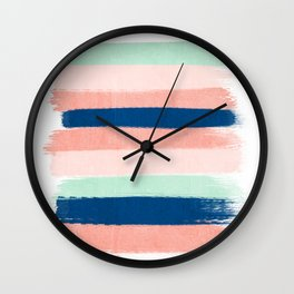 Painted stripes pattern minimal basic nursery decor home trends colorful art Wall Clock