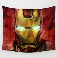 iron man Wall Tapestries featuring Iron Man by SachsIllustration