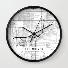 Des Moines Map, USA - Black and White Wall Clock