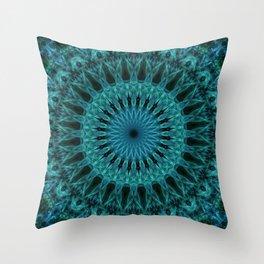 Sea blue and green mandala Throw Pillow
