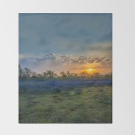 Daybreak In The Land Of Bluebonnets Throw Blanket