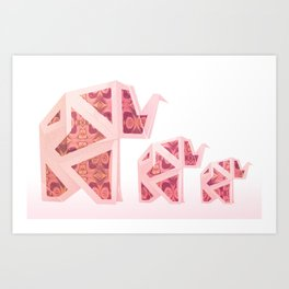 Pink Origami Elephant Tribal Pattern Art Print