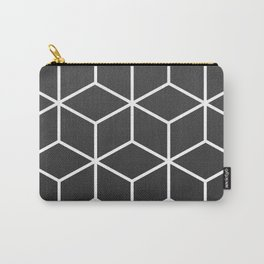 Charcoal and White - Geometric Textured Cube Design Carry-All Pouch