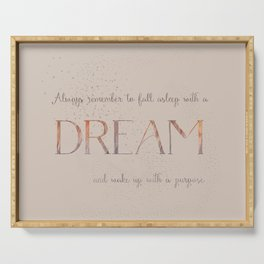 Always remember to fall asleep with a dream - Gold Vintage Glitter Typography Serving Tray