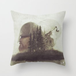 The man and the wolf Throw Pillow