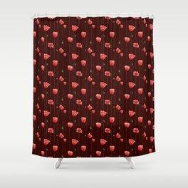 Poppies on Garnet Shower Curtain