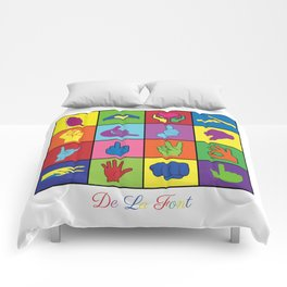 Hand Signs Rubik by DeLaFont Comforters