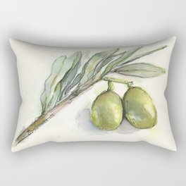 Olive Branch | Green Olives | Watercolor Illustration Rectangular Pillow