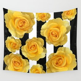 Yellow Roses on Black & White Stripes Wall Tapestry