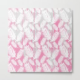 Fuchsia modern watercolor brushstrokes white floral Metal Print