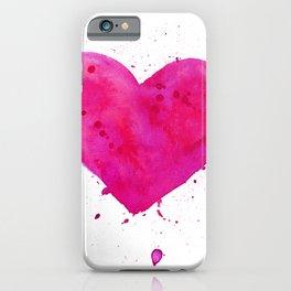 Watercolor heart iPhone Case