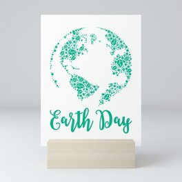 Earth Day World Leaves - Earth Day graphic Gift Mini Art Print