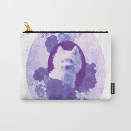 Westie & Roses Vintage Violet Round Frame Carry-All Pouch