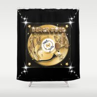 black and gold Shower Curtains featuring Black Gold by Nikola Kolobaric