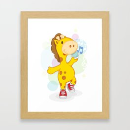 Party like Giraffe wearing converse Framed Art Print