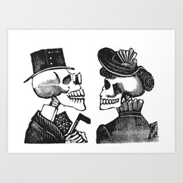 Calavera Couple | Skeleton Couple | Day of the Dead | Dia de los Muertos | Skulls and Skeletons | Vintage Skeletons | Art Print