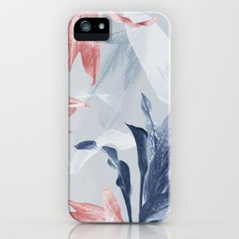 Pink Blue Tropical Exotic Leaves iPhone Case