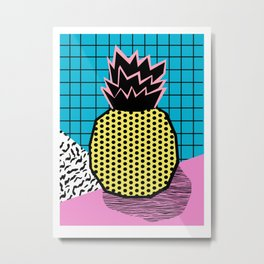 Grindage - pineapple fruit tropical pattern memphis style art print bright neon 1980 1980's 80's 80s Metal Print