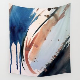 708 - a minimal mixed media abstract piece in blues, pinks, and white Wall Tapestry
