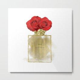 Red Roses & Fashion Perfume Bottle Metal Print