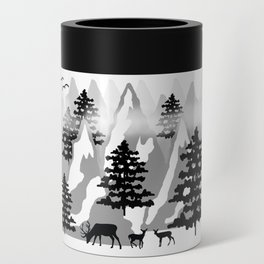 Woodland Rustic Deer Winter Mountain Forest Trees Can Cooler