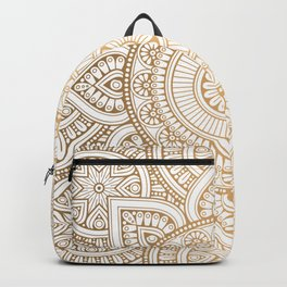 Gold Mandala Pattern Illustration With White Shimmer Backpack