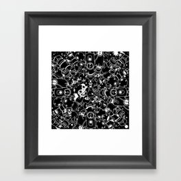 For Good For Evil - Black on White Framed Art Print