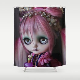 LITTLE OCTOPUS CUSTOM BLYTHE ART DOLL PINK NAVY Shower Curtain