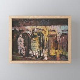 Fine art watercolor batik painting of honey jars at Farmers Market- Raleigh, North Carolina Framed Mini Art Print