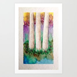 Colorful Birch Tree Watercolor Painting Art Print