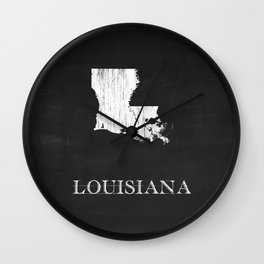Louisiana State Map Chalk Drawing Wall Clock