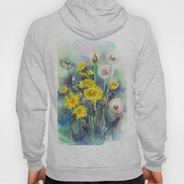 Watercolor dandelion flowers illustration Hoody