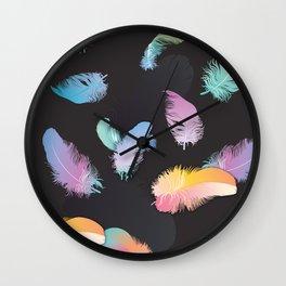 Colorful Feather Dark Backgorund Wall Clock